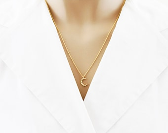 Hammered Crescent Moon Necklace Gold Crescent Moon Necklace Bridesmaid Gift