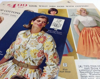 4 x 1960s British FASHION magazine sheets - 8 Pages for collage or scrapbooking