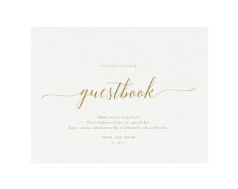 Adel: 8x10 Guest Book Sign in Gold, Please Sign our Guest Book, Printable Wedding Sign, Template, Reception Sign, PDF Instant Download
