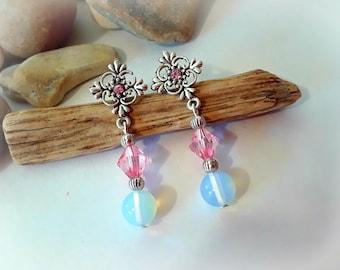 Moonstone Earrings | Pink Earrings | Post Earrings | 925 Sterling Silver Earrings | Rhinestone Earrings | Stud Earrings | Pink and White