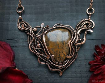 Jasper pendant Wire wrapped Elegant Boho Fantasy necklace Woodland necklace Wire wrap necklace Mother Christmas gift Wire wrapped jewelry