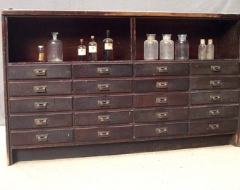 Temporary RESERVE for Sarah / Large Vintage Wood Cabinet with 20 Drawers and Shelf / Drygoods Counter / Drugstore Counter / Apothecary