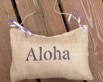 """Burlap Lavender Scented """"Aloha"""" Door Hanger"""
