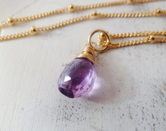 Amethyst necklace. Solitaire gemstone. Minimalist. February birthday. Amethyst jewelry. Amethyst Birthstone necklace. Aquarius gift