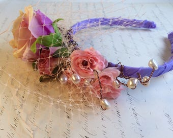 Woodland wedding tiara or headband. Boho flower crown. Rustic wedding. Gift for her. One size woman and girl