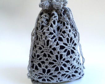 Gray Lace Bag, Crochet Lace Purse, Lace Wristlet, Renaissance bag - Free Shipping Domestic