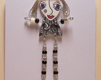 Wild Hair Shrink Plastic Art Doll Pin Wearable Art Piece Signed by Jennifer Obertin OOAK