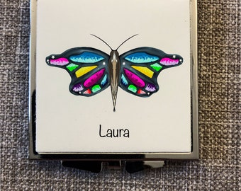 Compact mirror, mirror butterfly, butterfly wings. Purse mirror, gift for women, Mothers day, compact mirror silver, bridal party