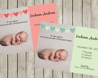 Birth Announcement | Loved With A Thousand Hearts | Pink Heart Bunting | Blue Heart Bunting (5x7)