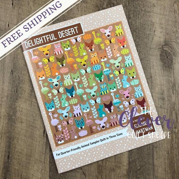 Quilt Pattern, Delightful Desert, Elizabeth Hartman, Oh Fransson, Fancy Fox, Dwight the Deer, Butterfly, Bunny, Bird, Racoon, Thistle