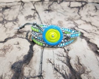 Luscious Lime 3x Adjustable leather wrap