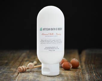 Organic Body Lotion | Almond Milk + Honey Moisturizer, Nutty Sweet Scented Cream, Reformulated, For Dry Skin Care, Face and Body Creme