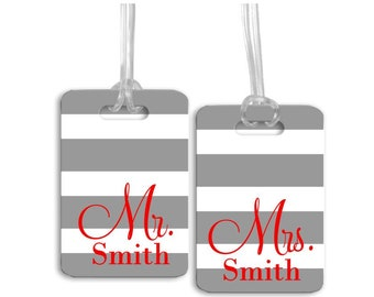 Mr. and Mrs. Luggage Tag Set, Bride and Groom Tags, Wedding Gift, Newlywed Gift, Personalized Luggage Tags - Set of 2 Bag Tags