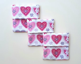 Cloth Pad Wrapper Waterproof Lining Mini Wetbag Pad Pouch Hearts