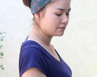 Blue Turban Headband, Flower Twist Turband, Boho Headwrap