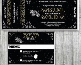 Star Wars Wedding Invitation Set with Millennium Falcon, Star Wars Wedding Ticket, Star Wars Party, Star Wars Birthday Party Invitation