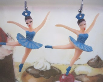 Kitschy Blue Ballerina Earrings