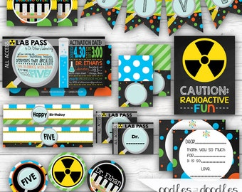 Science Party, Mad Scientist Birthday, Chemistry Party, Science Birthday Party, Boys Birthday, Little Scientist, Printable Party Package