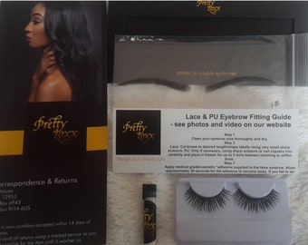 Pretty Loxx Human Hair Eyebrows With Adhesive and Eyelashes style 9