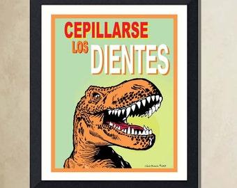 "Fine Art Poster - (Brush Your Teeth in Spanish: Cepillarse Los Dientes) - 8""x10"" poster print, Child's Room art, Childs Bath print"