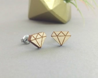 Diamond Stud Earrings - Laser Engraved on Maple Wood - Titanium Post Stud Earring Pair - Diamond Earrings