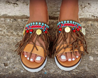 "Boho Sandals, Women Sandals, Greek Leather Sandals,  Handmade Sandals, Pom Pom Sandals, Gipsy Sandals, Boho Flats, hipplie sandals ""Tucan"""