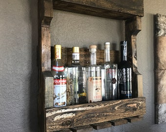 Rustic wine/bottle rack with or without glass holder