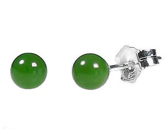 4mm Natural Nephrite Green Jade Ball Stud Post Earrings, 925 Sterling Silver, Small Minimalist Earrings, Small Earrings, Jade Earrings