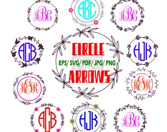 Arrow frame, Arrow monogram initial border, Circle Arrow frame, love, boho, pdf/.svg/.eps /.jpg/.png, Cutting or Printing, Instant Download
