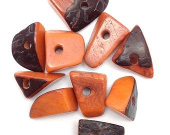 Tagua triangles, medium, orange, 15mm, 10 pieces, Ta
