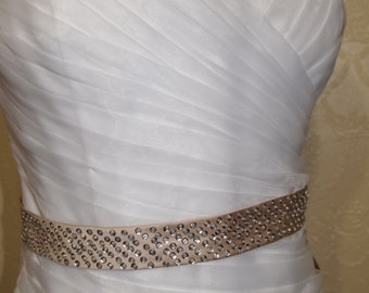new with tags old stock plus sz 18 White Wedding Gown ruched MERMAID FISHTAIL gold Rhinestone Belt