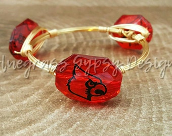 University of Louisville Wire Wrapped Bangle, Bracelet, Bourbon and Boweties Inspired
