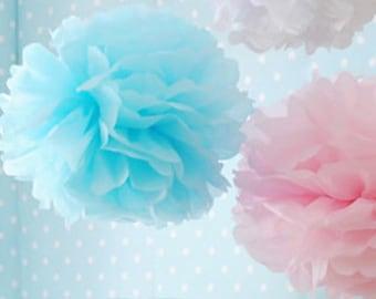 6- tissue Pom Poms- Gender Reveal
