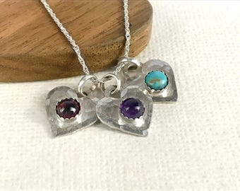 Small Heart Necklace, Sterling Silver Gemstone Necklace, Tiny Heart Jewelry for Women, Silver Heart with stone, Turquoise, Garnet, Amethyst