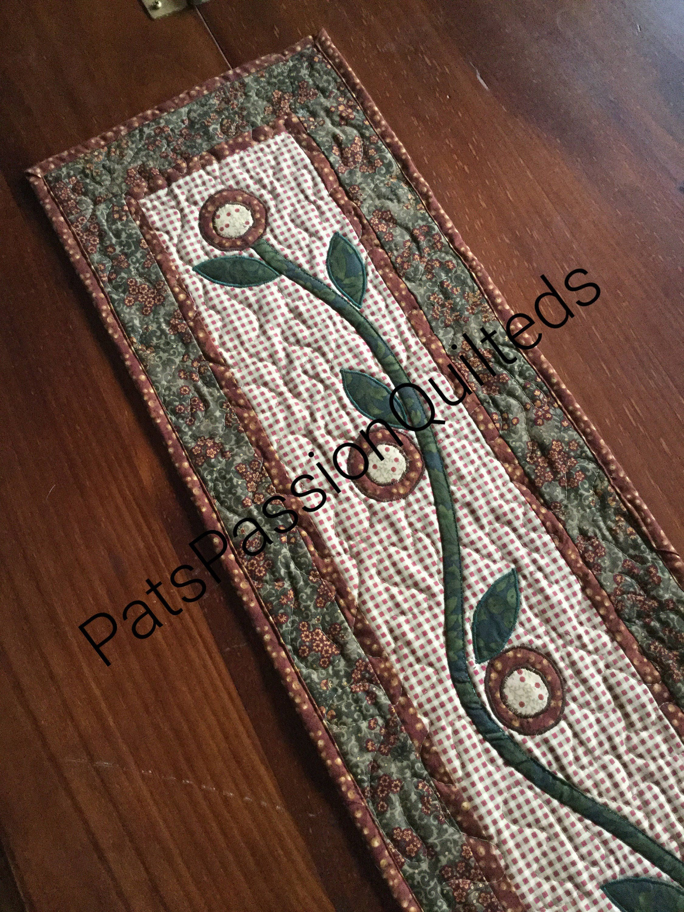 Primitive Country Table Runner, Quilted Repro Table Runner, Applique Quilted  Table Runner, Brown Green Tan Floral Quilted Runner