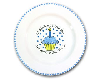 Free Shipping - Personalized Birthday Cupcake - Hand Painted Signature Birthday Plate - 1st Birthday - Guest Book plate - signature plate