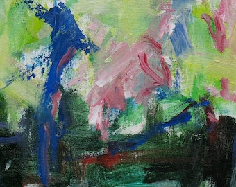 Homage Aux Pommes ABSTRACT Painting 14 x 16 green pink airy light