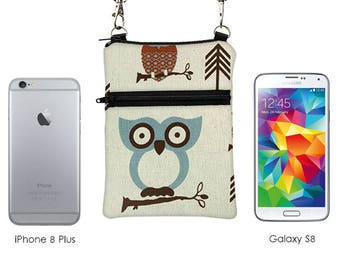 iPhone 8 Plus Shoulder Bag, Zipper Phone Purse with Strap, Small Travel Sling Bag, Passport Crossbody Bag - cute owls in off white