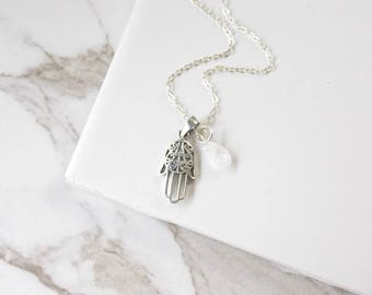 Sterling Silver  and Moonstone Hamsa  Necklace. Hamsa Jewelry, Sterling Silver Jewelry, Yoga, Lucky Jewelry, Moonstone Jewelry