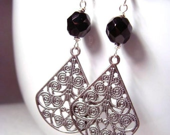 Black Onyx Czech Glass Earrings with Detailed Ornament