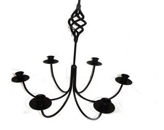 Wrought Iron 6 Arm Bird Cage Candle Chandelier -DIY Wedding - Hanging Light Fixture - Indoor / Outdoor - Paintable --Handmade in the USA