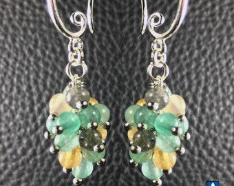 Delicates Natural Amazonite & Plated Silver Cluster Earrings