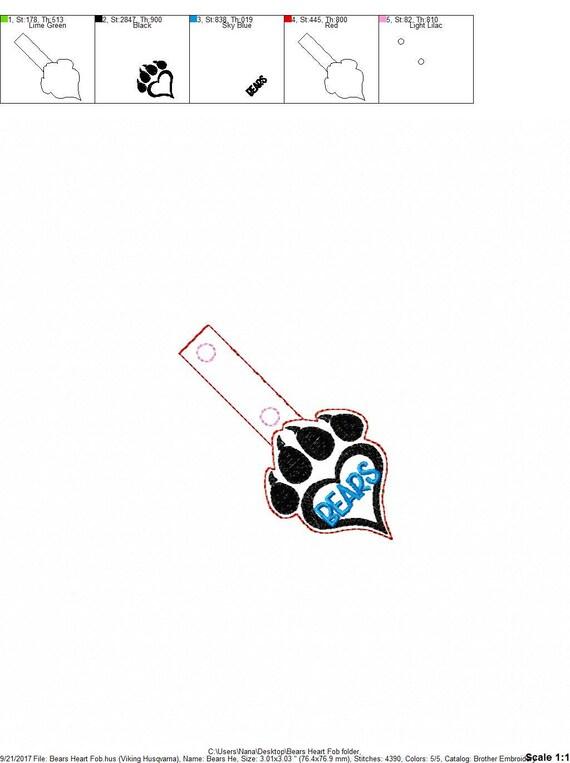 Bears Paw Print In The Hoop Snap/Rivet Key Fob DIGITAL