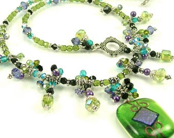 "MAJOR MARKDOWN - Lime & Purple ""Queen's Cascade"" - Fully Beaded Dichroic Fused Glass Statement Necklace-OOAK"