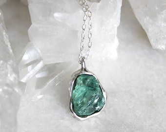 apatite necklace, crystal necklace, raw apatite necklace, sterling silver, recycled silver, gifts for her