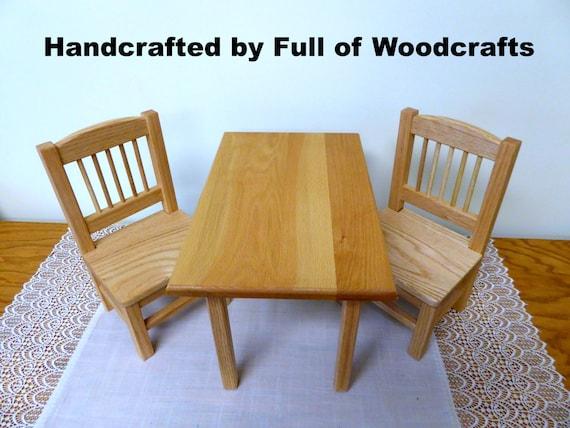 Amerikanische Puppe Holz Tisch und Stühle Set/AG Eichentisch