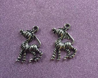 2 Cute and Cheeky Antique Silver Alloy Zebra Charms
