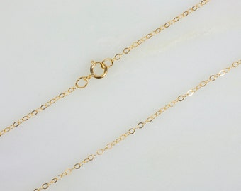 14k Gold Filled Flat Cable Chain Necklace for Pendants, 16 Inch, 18 Inch, 20 Inch, 24 Inch, 30 Inch