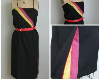 Vintage 1980's Black Linen Dress// Color Block Insert
