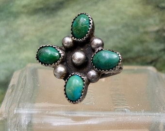 Vintage Turquoise Ring Size 5.5 Sterling Silver
